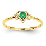 Genuine May Birthstone Heart Ring 14k Gold YC428