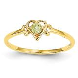 Genuine August Birthstone Heart Ring 14k Gold YC431