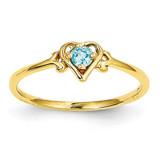Genuine December Birthstone Heart Ring 14k Gold YC435