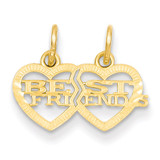 Double Heart Best Friends Break-apart Charm 14k Gold YC481