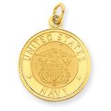 U.S. Navy Insignia Disc Pendant 14k Gold YC503