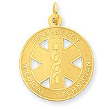 Satin Medium EMT Medical Pendant 14k Gold YC507