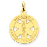 Medium EMT Medical Pendant 14k Gold Polished YC509
