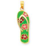 Enameled Flowers on Green Flip Flop Pendant 14k Gold YC560