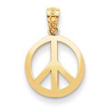 Peace Sign Circle Pendant 14k Gold Polished YC815