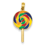Enameled Lollipop Pendant 14k Gold YC879