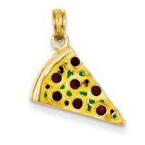 Enameled Pizza Slice Pendant 14k Gold YC880