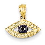 Enameled Eye Pendant 14K Gold & Rhodium YC898
