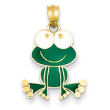 Green and White Enameled Frog 14k Gold YC913