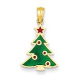 Enameled Christmas Tree Pendant 14k Gold YC934