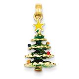 Enameled Christmas Tree Pendant 14k Gold YC935