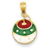 Enameled Christmas Ornament Pendant 14k Gold YC942