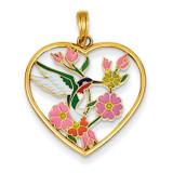 Enameled Hummingbird with Flowers Heart Pendant 14k Gold YC957