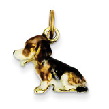 Enameled Small Beagle Charm 14k Gold YC987