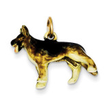 Enameled Medium German Shepherd Charm 14k Gold YC989