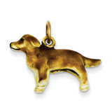 Enameled Small Golden Retriever Dog Charm 14k Gold YC992