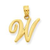 W Script Initial Pendant 14k Gold YC993W