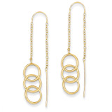 Triple Circle Threader Earrings 14k Gold YE1053