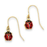 Enameled Ladybug Dangle Earrings 14k Gold YE1535
