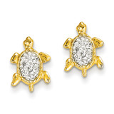 Crystal White Turtle Post Earrings 14k Gold YE1543