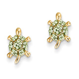 Light Green Crystal Turtle Post Earrings 14k Gold YE1603