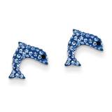 Crystal Blue Dolphin Post Earrings 14k Gold YE1605