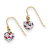 Multi-colored Crystal Heart Dangle Earrings 14k Gold YE1612