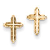 Polished Cross Post Earrings 14k Gold YE1675
