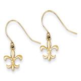 Fleur de lis Dangle Earrings 14k Gold YE1677