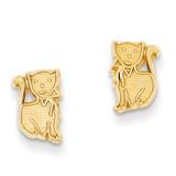 Kitten Post Earrings 14k Gold Polished YE17