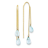 Double Blue Topaz Pear Shape Threader Earrings 14k Gold YE679