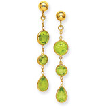 Peridot Gemstone Dangle Earrings 14k Gold YE875