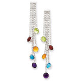 Multi-colored Gemstone Dangle Earrings 14k White Gold YE880