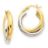 Polished Double Tube Hoop Earrings 14k Two-Tone Gold Z795