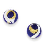 Blue, Gold & Silver Color Italian Murano Earrings Sterling Silver MPN: MUR81