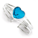 Simulated Turquoise Heart Cuff Bangle Bracelet Sterling Silver MPN: QB385