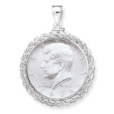30.5 x 2.1mm $0.50 Rope Coin Bezel Pendant Sterling Silver MPN: QBR5