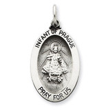 Infant of Prague Medal Antiqued Sterling Silver MPN: QC3450