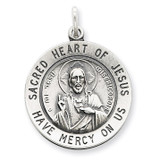 Sacred Heart of Jesus Medal Sterling Silver MPN: QC3460