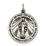 Miraculous Medal Antiqued Sterling Silver MPN: QC3482