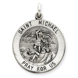 Saint Michael Medal Antiqued Sterling Silver MPN: QC3610