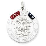Saint Michael Medal Sterling Silver Enameled MPN: QC3611