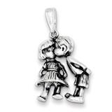 Boy Kissing Girl Antiqued Sterling Silver MPN: QC3702