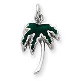 Green Enameled Palm Tree Charm Sterling Silver MPN: QC4012