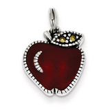Red Apple Charm Sterling Silver Enameled MPN: QC4166