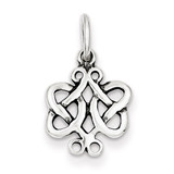 Scroll Celtic Knot Charm Antiqued Sterling Silver MPN: QC4720