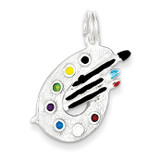 Painting Palette Charm Sterling Silver Enameled MPN: QC4780