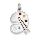 Painting Palette Charm Sterling Silver Enameled MPN: QC4781