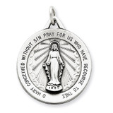 Miraculous Medal Antiqued Sterling Silver MPN: QC5519