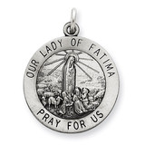 Our Lady of Fatima Medal Antiqued Sterling Silver MPN: QC5579